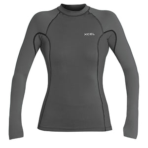 Xcel Women's Premium 6oz L/S UV Rashguard - Gunmetal-Xcel Wetsuits-Seaside Surf Shop