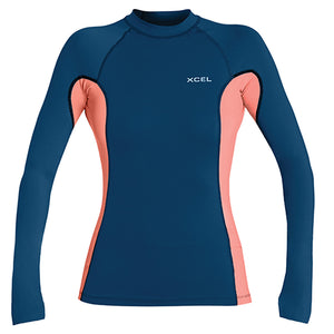 Xcel Women's Premium 6oz L/S UV Rashguard - Faint Blue/Grapefruit-Xcel Wetsuits-Seaside Surf Shop