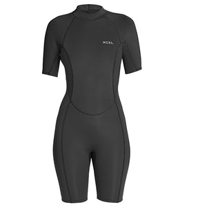 Xcel Axis Womens 2mm S/S Springsuit - Black-Xcel Wetsuits-Seaside Surf Shop