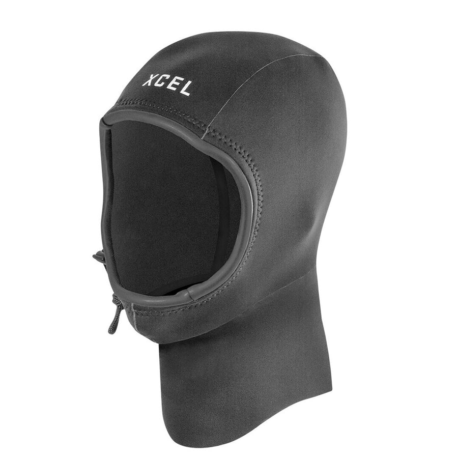Xcel Axis 2mm Hood - Black, Wetsuit Accessories, Xcel Wetsuits, 2mm Hoods, The Xcel Axis 2mm Hood features plush thermolite throughout for comfort and warmth. The quick dry fibers, engineered design, and cinch and barrel lock is all you need to seal up and keep the head warm.