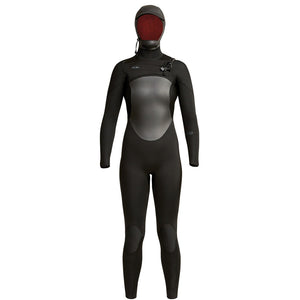 Xcel Axis Womens 5/4mm Hooded Fullsuit - Black, Wetsuits, Xcel Wetsuits, 4mm Wetsuits, meta-size-chart-xcel-wetsuit-size-chart, The womens hooded axis wetsuit is a great starter suit for the person looking for a good wetsuit at an affordable price. New plush thermo lite line the interior of this suit made of 100% performance stretch giving you more comfort and performance. A water tight zipper and engineered for women fit system along with triple glued blind stitched seams and reinforced FusionX tape.