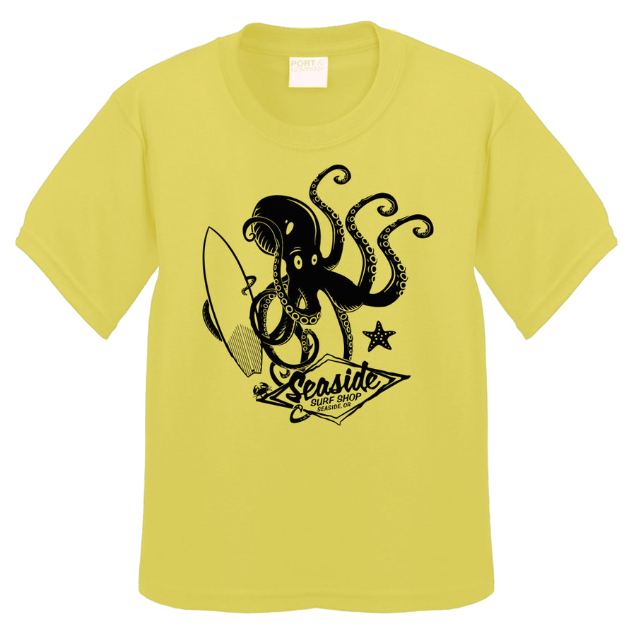 Seaside Surf Shop Toddler Octopus Tee - Yellow