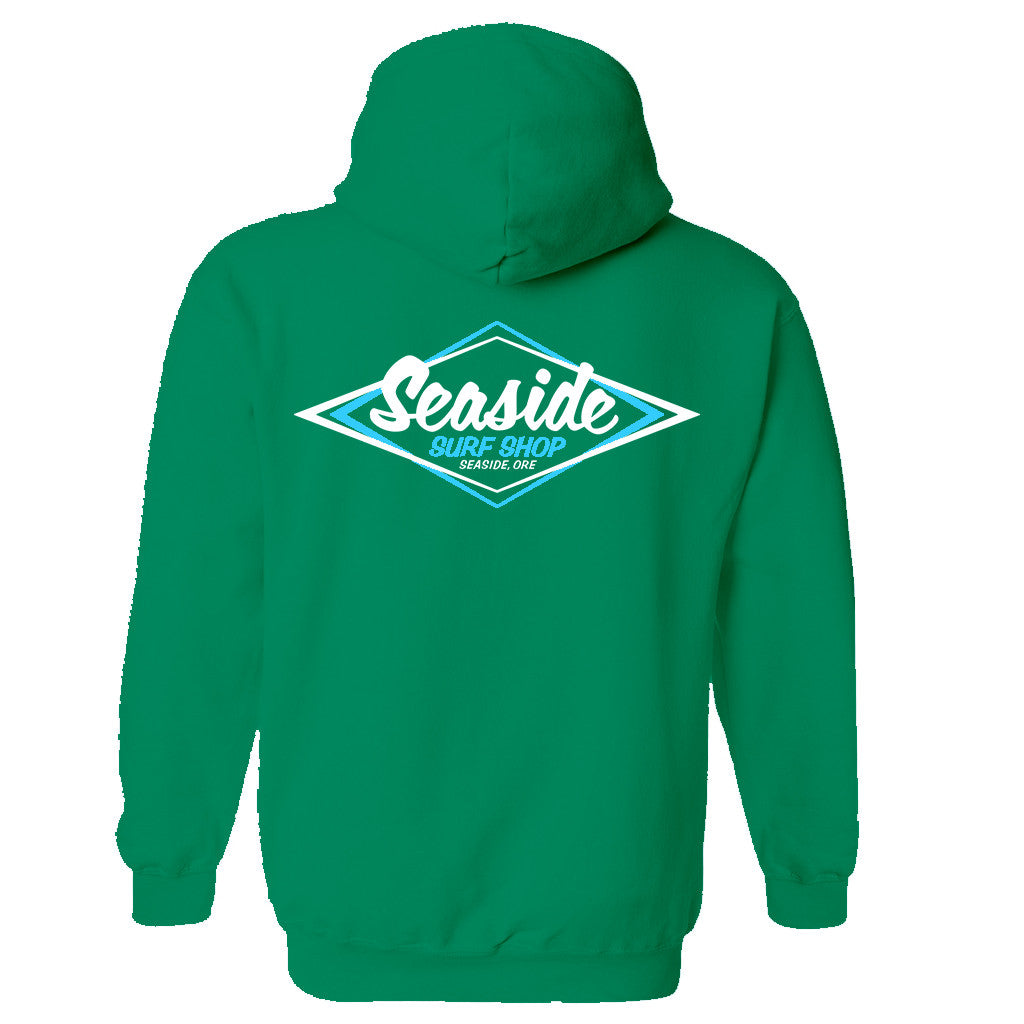 Seaside Surf Shop Youth Vintage Logo Pullover Hoody - Kelly Green - Seaside Surf Shop