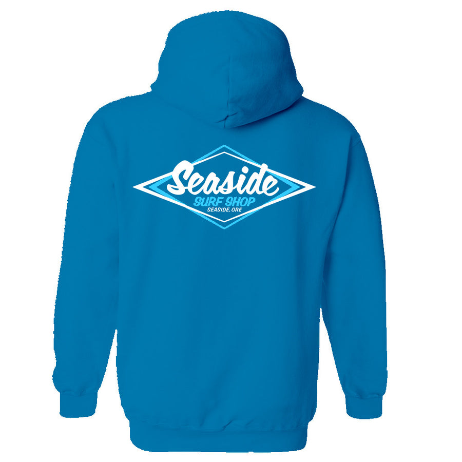 Seaside Surf Shop Youth Vintage Logo Pullover Hoody - Sapphire Blue, Apparel, Seaside Surf Shop, Youth Hoodys, Seaside Surf's Vintage Logo now screened on a Youth pullover hoody. Spread the stoke!