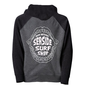 Seaside Surf Shop Youth Shark Bite Zip Hoody - Carbon/Black-Seaside Surf Shop-Seaside Surf Shop