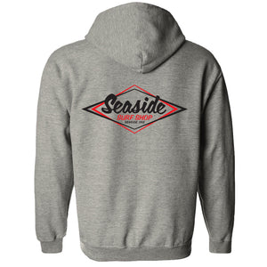 '-Seaside Surf Apparel-Seaside Surf Shop Youth Vintage Logo Zip Hoody - Grey-Seaside Surf Shop-Seaside Surf Shop