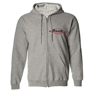 Seaside Surf Shop Youth Vintage Logo Zip Hoody - Grey, Apparel, Seaside Surf Shop, Youth Hoodys, Seaside Surf's Vintage Logo now screened on Youth zippered hoody, easy on and easy off. Making life easier for one grom at a time.