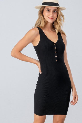 Rita Ribbed Knit Dress : Black