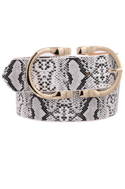 Belt : White Snake Print with Gold Double Buckle