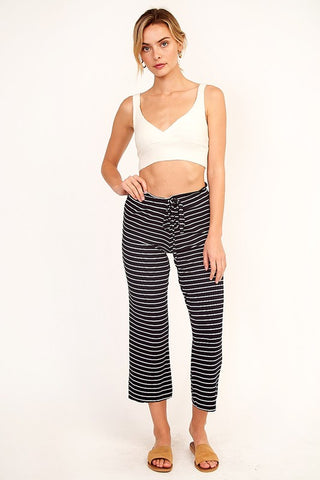 Cropped Lounge Pants : Black & White Stripe
