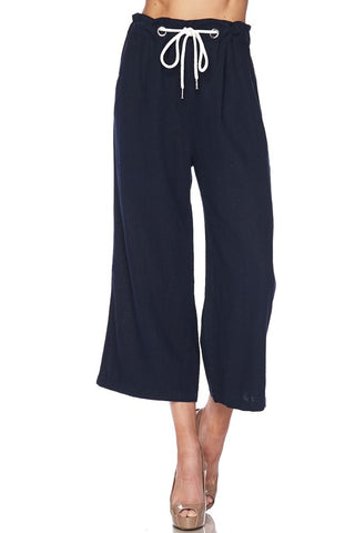 Linen Cropped Drawstring Pants : Navy