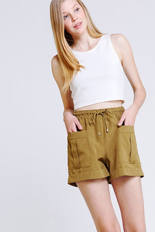 Haley Cuffed Shorts : Olive - FINAL SALE