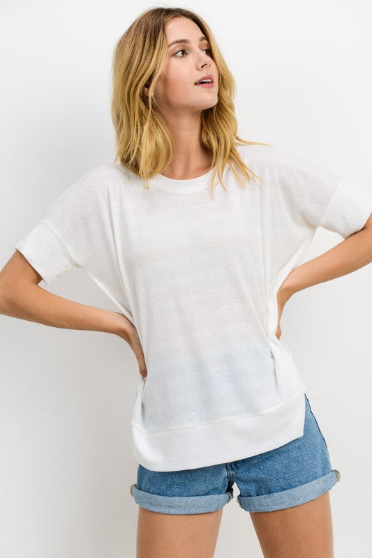 Dina Short Sleeve Top : White