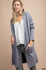 Bailey Open Front Cardigan with Pockets : Heather Grey