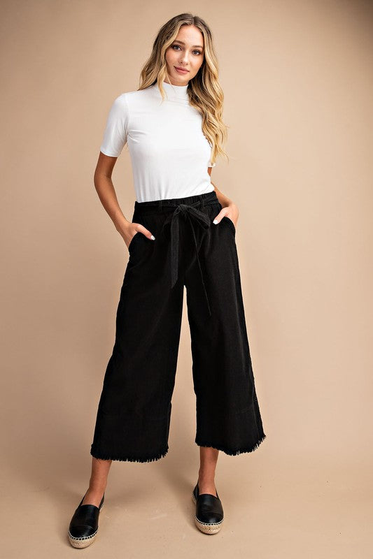 Cropped Corduroy Wide Leg Pants : Black - FINAL SALE
