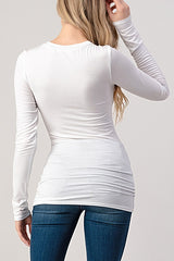 Classic Crew Neck Long Sleeve Tee : White
