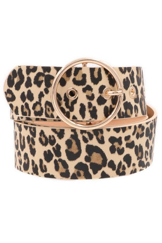 Belt : Leopard Print with Gold O-Ring Buckle