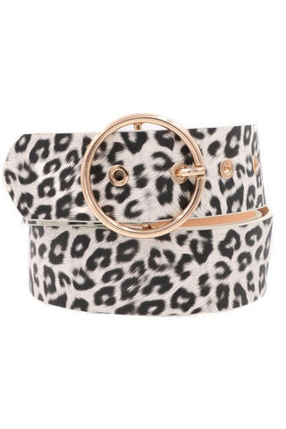 Belt : White Leopard Print with Gold O-RIng Buckle