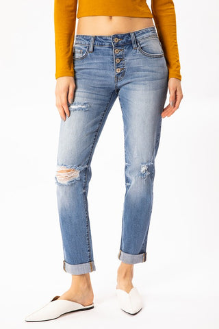 Dalton Relaxed Fit Cuffed Denim: Medium Blue