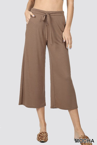 Pauline Wide Leg Cropped Pants : Mocha