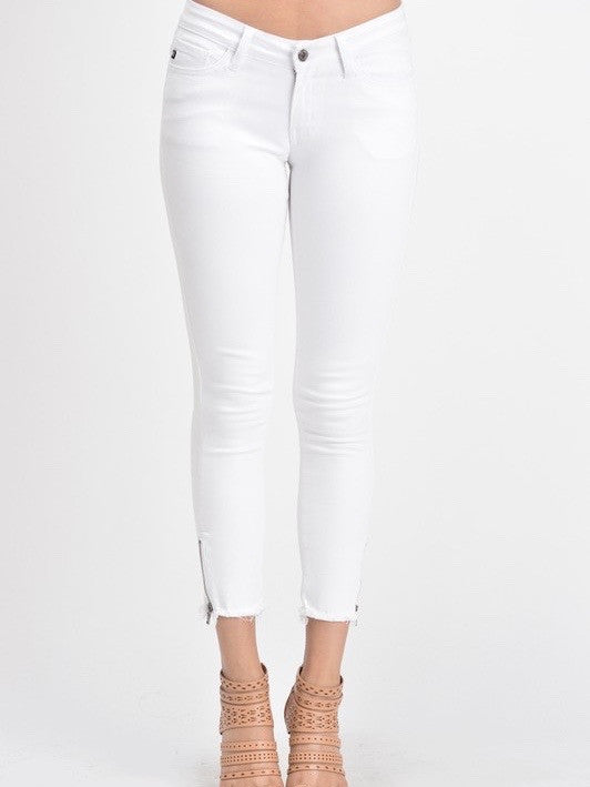 Iconic Zip Skinny : White