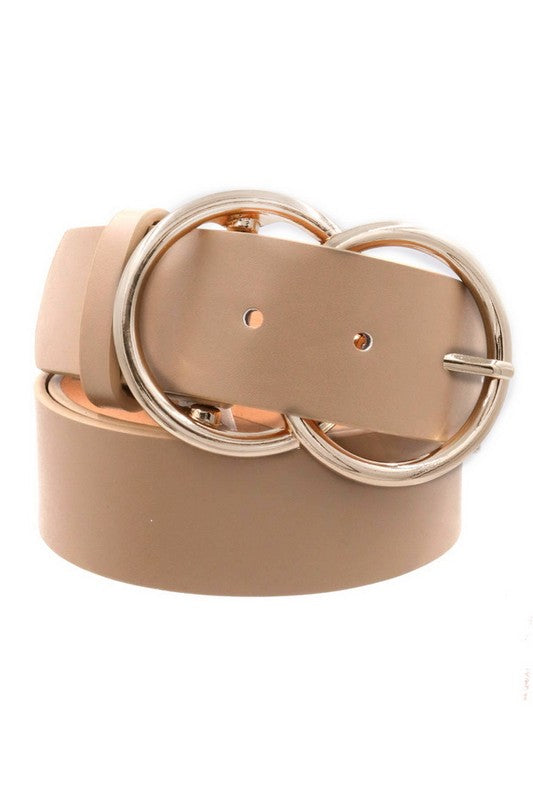 Belt : Taupe with Gold Buckle
