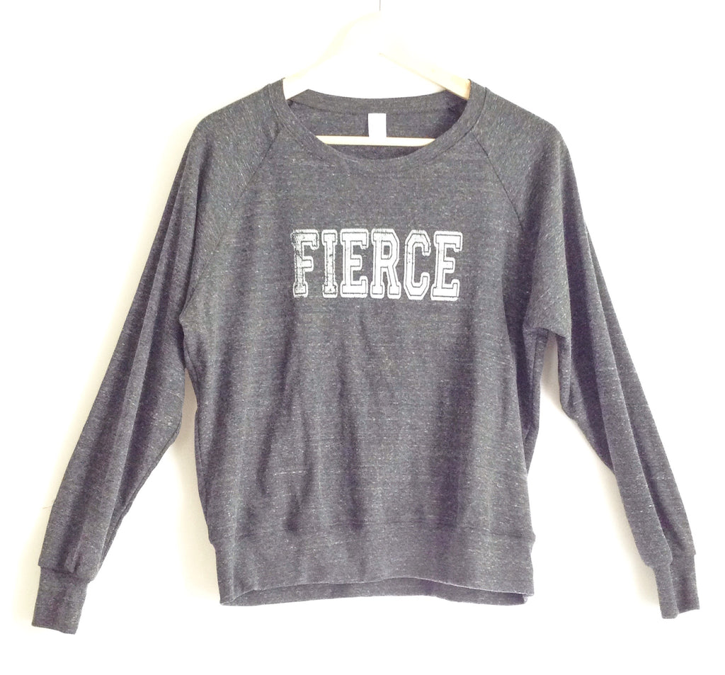 FIERCE Raglan Pullover - Heather Grey