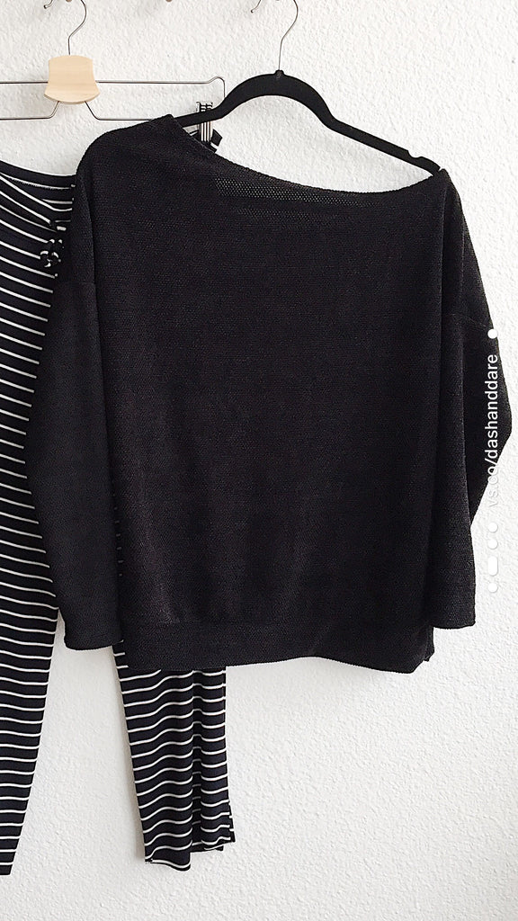 Off The Shoulder Chenille Knit Sweater : Black