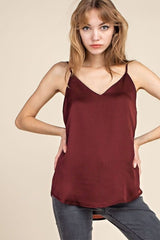 Satin Camisole : Burgundy - FINAL SALE