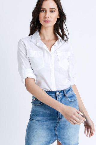 Ingrid Classic Button Down Shirt : White