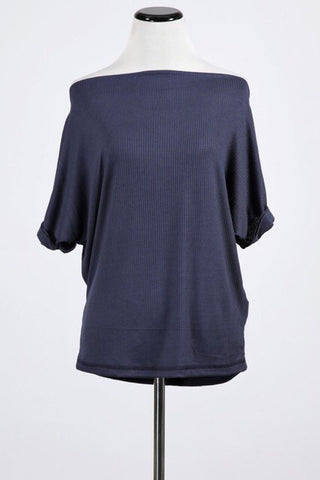 Boat Neck Short Sleeve Top : Navy Denim