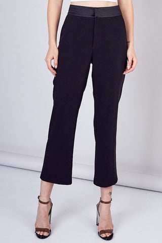 Wide Leg Trousers w/ Satin Waistband : Black