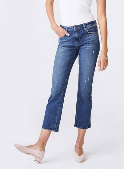 Margaux Cropped Demi Flare : Medium Wash