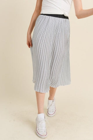Pleated Polka Dot Midi Skirt : White and Black
