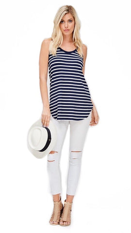 Presley Striped Tank Top : Navy & White