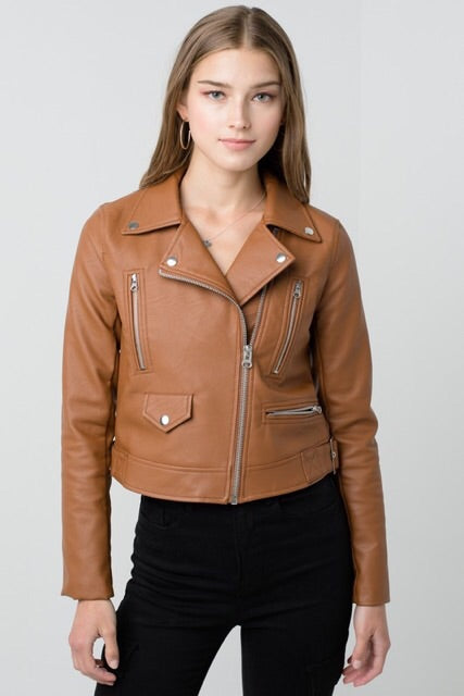 Brigitte Faux Leather Moto Jacket : Camel