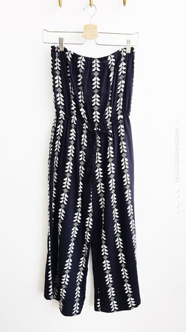 Bonita Strapless Wide Leg Jumpsuit : Black & White