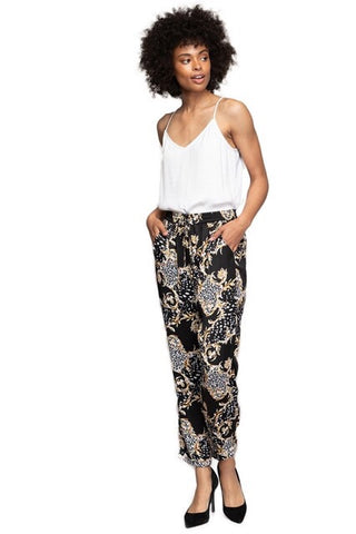 Baroque Animal Pants : Black Multi - FINAL SALE