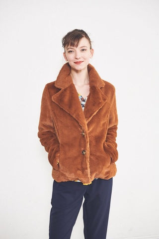 Lucille Short Fur Coat : Rust