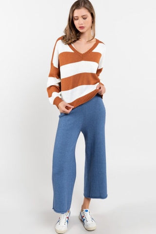 Chrissy Striped V-Neck Sweater : Rust & White