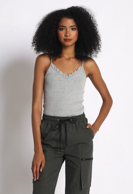 Ruffle Tank Top : Heather Grey