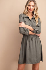 Sahara Button Front Dress : Olive