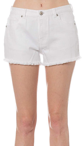 Denim Cut- Off Shorts : White