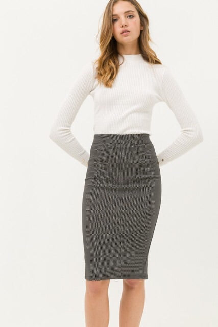 Polka Dot Pencil Skirt : Black & White