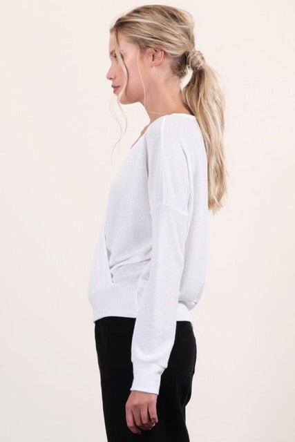 Lightweight Knit Crossover Top : Ivory