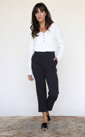 Audrey Pinstripe Cropped Trousers : Black & White