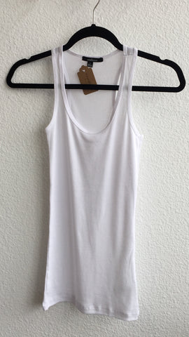 Ribbed Racerback Tank Top : White