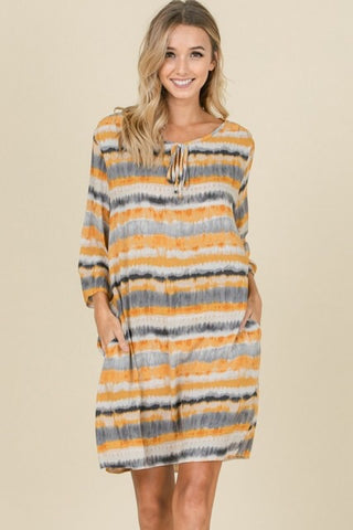 Tie Dye Dress : Mustard Multi