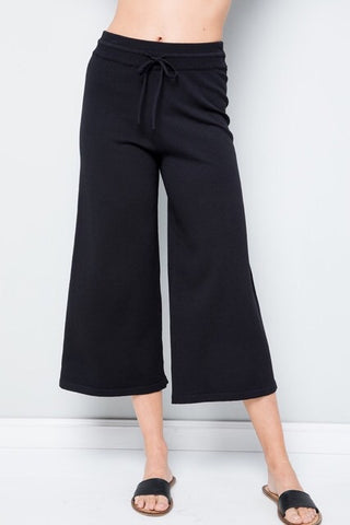 Knit Cropped Drawstring Pants : Black