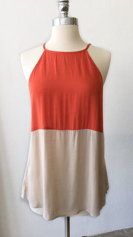 Boca Colorblock Halter Top : Orange & Khaki